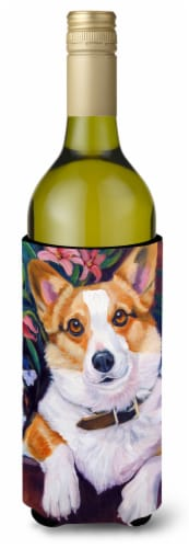 Can I help you Corgi Wine Bottle beverage Insulator Hugger Perspective: front