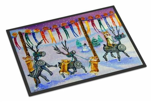Corgi Log Reindeer Race Christmas Indoor or Outdoor Mat 24x36 Perspective: front