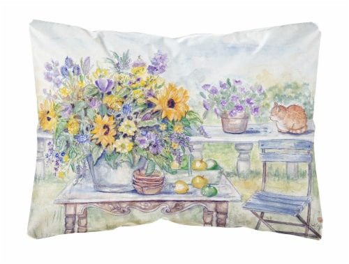 Patio Bouquet of Flowers Fabric Decorative Pillow Perspective: front