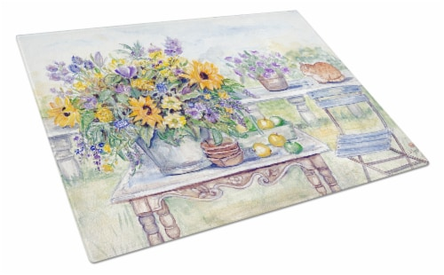 Patio Bouquet of Flowers Glass Cutting Board Large Perspective: front