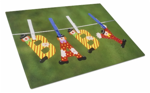 New Baby Clown Clothesline Glass Cutting Board Large Perspective: front