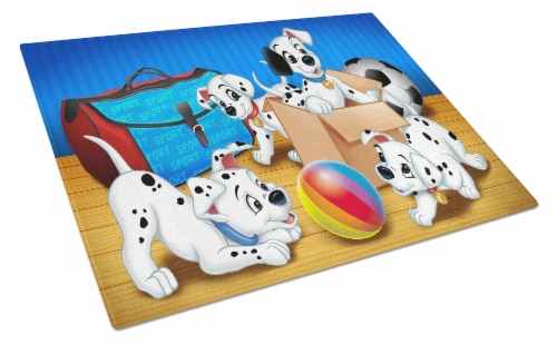 Dalmatians playing ball Glass Cutting Board Large Perspective: front