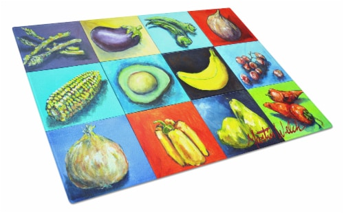 Mixed Fruits and Vegetables Glass Cutting Board Large Perspective: front