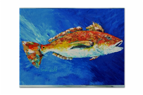Carolines Treasures  MW1212PLMT Red Fish White Spin Fabric Placemat Perspective: front