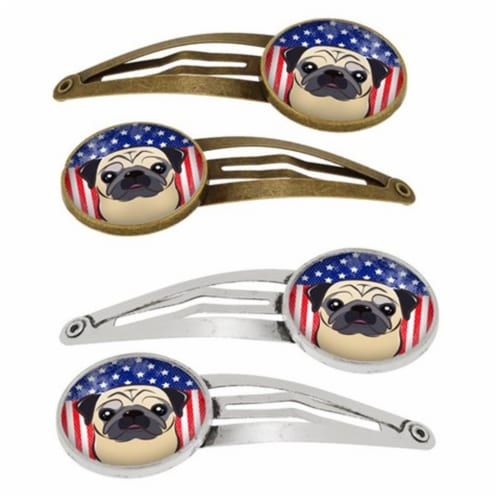 Carolines Treasures BB2192HCS4 American Flag & Fawn Pug Barrettes Hair Clips, Set of 4 Perspective: front