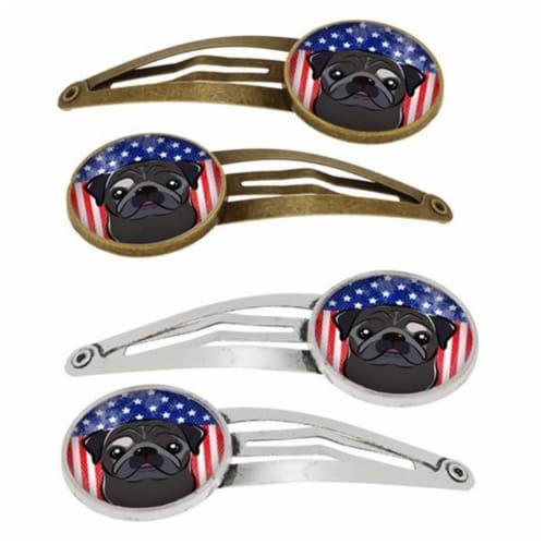 Carolines Treasures BB2193HCS4 American Flag & Black Pug Barrettes Hair Clips, Set of 4 Perspective: front