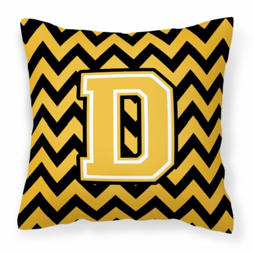 Letter D Chevron Black and Gold Fabric Decorative Pillow Perspective: front