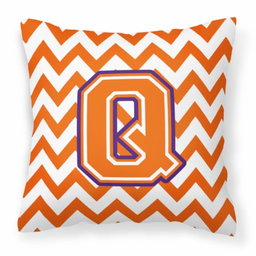 Letter Q Chevron Orange and Regalia Fabric Decorative Pillow Perspective: front