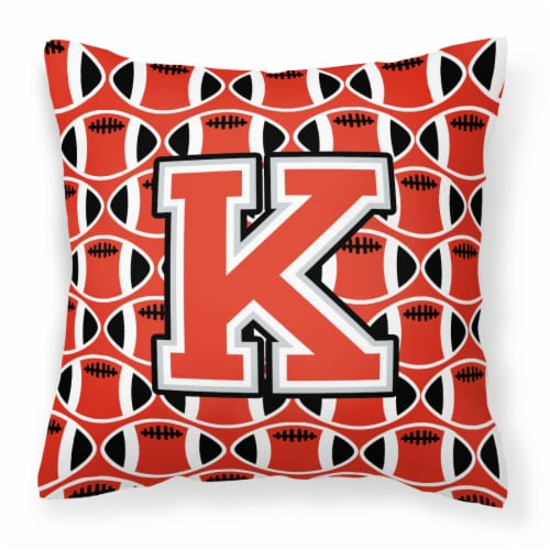 Letter K Football Scarlet and Grey Fabric Decorative Pillow Perspective: front