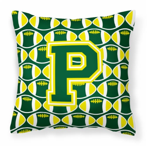 Letter P Football Green and Yellow Fabric Decorative Pillow Perspective: front