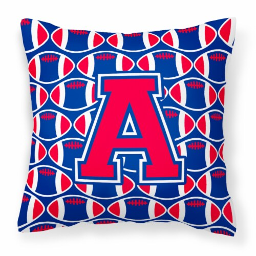 Letter A Football Harvard Crimson and Yale Blue Fabric Decorative Pillow Perspective: front