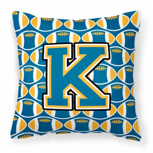 Letter K Football Blue and Gold Fabric Decorative Pillow Perspective: front