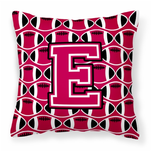 Letter E Football Crimson and White Fabric Decorative Pillow Perspective: front