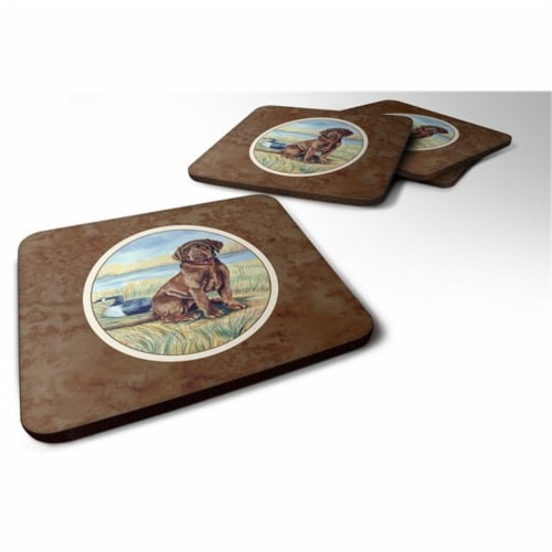 Carolines Treasures 7090FC Chocolate Labrador Puppy Foam Coaster, Set of 4 Perspective: front