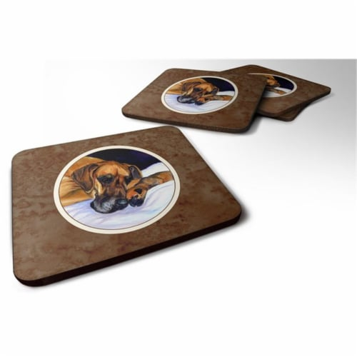 Carolines Treasures 7099FC Natural Eared Fawn Great Dane Momma & Puppy Foam Coaster, Set of 4 Perspective: front