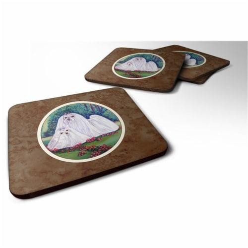 Carolines Treasures 7104FC Maltese Momma & Puppy Foam Coaster, Set of 4 Perspective: front