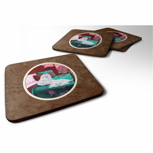 Carolines Treasures 7110FC Maltese & Puppy Waiting on You Foam Coaster, Set of 4 Perspective: front