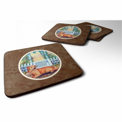 Carolines Treasures 7148FC Golden Retriever & Puppy at the Fence Foam Coaster, Set of 4 Perspective: front