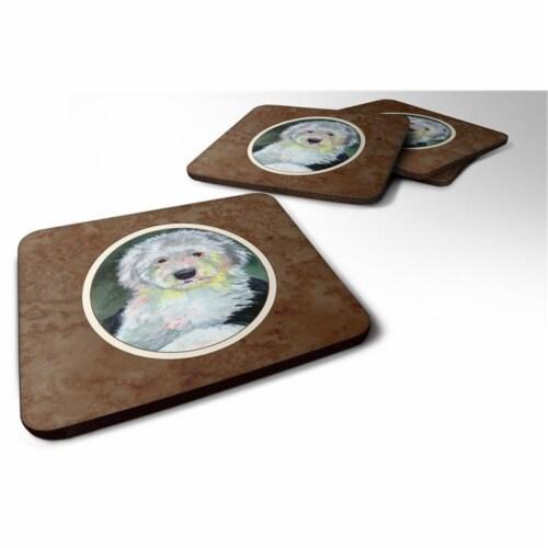 Carolines Treasures 7252FC Old English Sheepdog Foam Coaster, Set of 4 Perspective: front