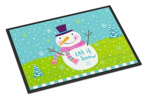 Christmas Snowman Let it Snow Indoor or Outdoor Mat 24x36 Perspective: front