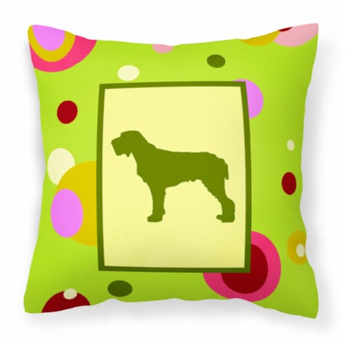 Lime Green Dots Italiano Spinone Fabric Decorative Pillow Perspective: front