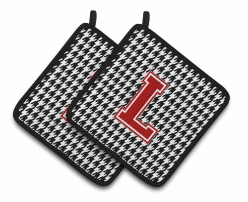 Letter L Monogram - Houndstooth Black Pair of Pot Holders Perspective: front