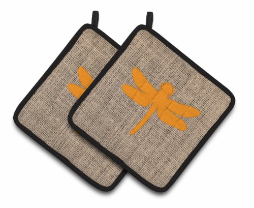 Dragonfly Faux Burlap and Orange   Pair of Pot Holders Perspective: front