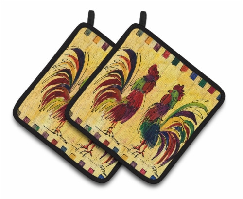 Carolines Treasures  8062PTHD Bird - Rooster Pair of Pot Holders Perspective: front