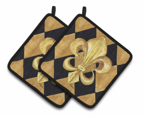 Black and Gold Fleur de lis New Orleans Pair of Pot Holders Perspective: front