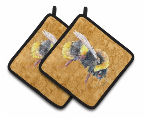 Carolines Treasures  8850PTHD Bee on Gold Pair of Pot Holders Perspective: front