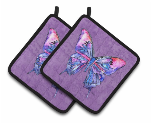 Carolines Treasures Butterfly on Purple Pair of Pot Holders Perspective: front