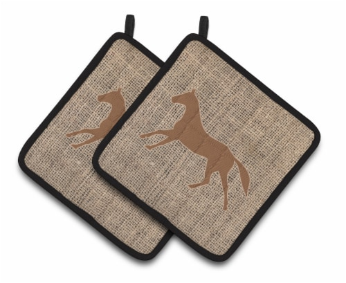 Horse Faux Burlap and Brown   Pair of Pot Holders Perspective: front