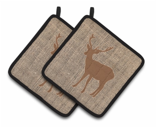 Deer Faux Burlap and Brown   Pair of Pot Holders Perspective: front