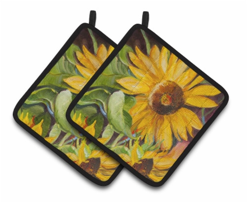 Carolines Treasures  JMK1265PTHD Sunflowers Pair of Pot Holders Perspective: front