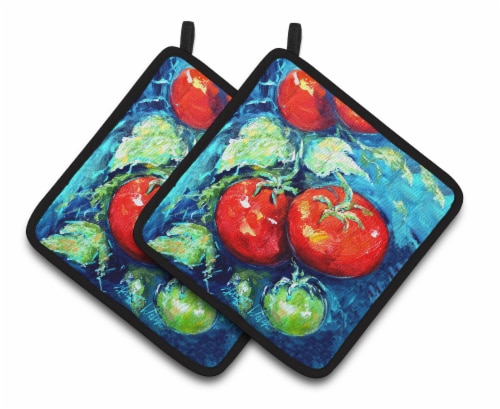 Vegetables - Tomatoes on the vine Pair of Pot Holders Perspective: front