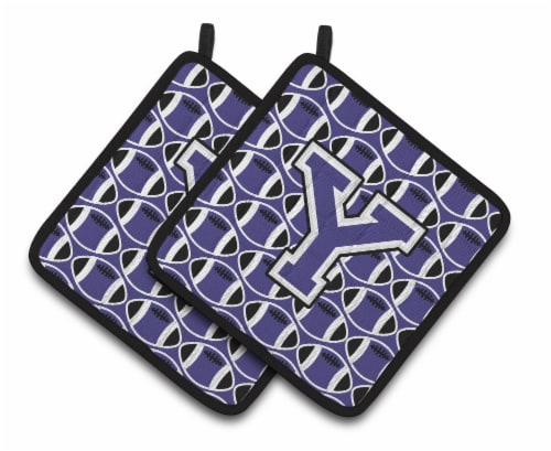 Letter Y Football Purple and White Pair of Pot Holders Perspective: front