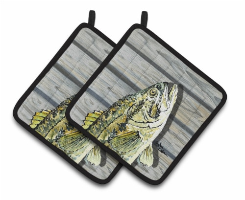 Carolines Treasures  8493PTHD Fish Bass Small Mouth Pair of Pot Holders Perspective: front