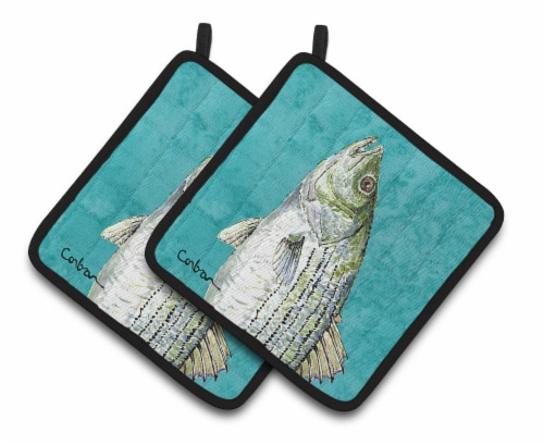 Carolines Treasures  8720PTHD Striped Bass Fish Pair of Pot Holders Perspective: front