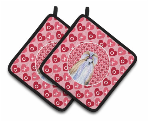 Shih Tzu Hearts Love and Valentine's Day Portrait Pair of Pot Holders Perspective: front