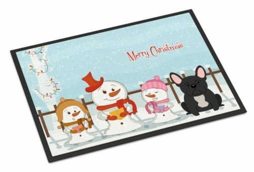Merry Christmas Carolers French Bulldog Black Indoor or Outdoor Mat 24x36 Perspective: front