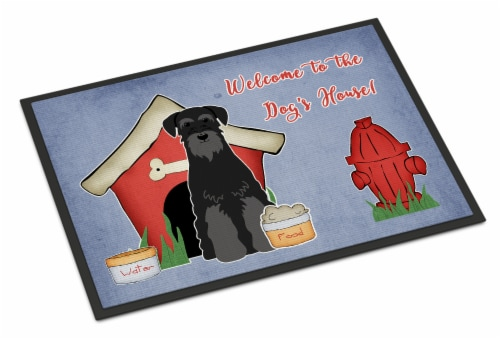 Dog House Collection Standard Schnauzer Black Indoor or Outdoor Mat 24x36 Perspective: front