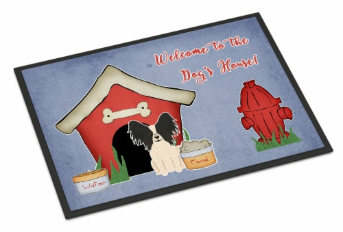 Dog House Collection Papillon Black White Indoor or Outdoor Mat 24x36 Perspective: front