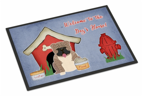 Dog House Collection English Bulldog Grey Brindle  Indoor or Outdoor Mat 24x36 Perspective: front