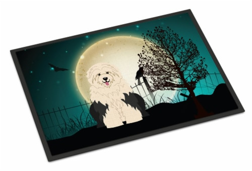 Halloween Scary Old English Sheepdog Indoor or Outdoor Mat 18x27 Perspective: front