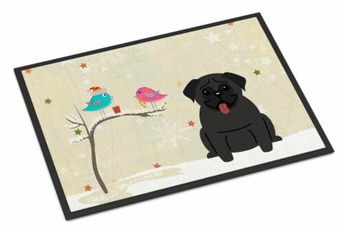 Christmas Presents between Friends Pug Black Indoor or Outdoor Mat 18x27 Perspective: front