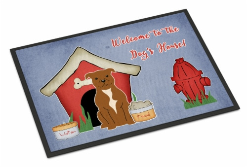 Dog House Collection Staffordshire Bull Terrier Brown Indoor or Outdoor Mat 18x2 Perspective: front