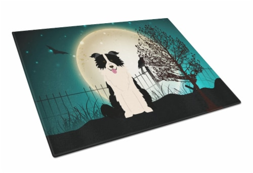 Halloween Scary Border Collie Black White Glass Cutting Board Large Perspective: front