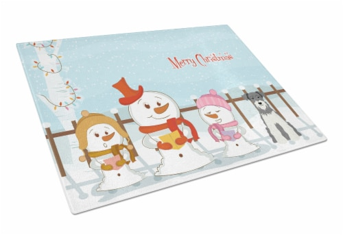 Merry Christmas Carolers Miniature Schanuzer Salt and Pepper Glass Cutting Board Perspective: front
