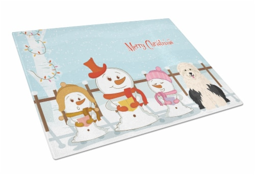 Merry Christmas Carolers Old English Sheepdog Glass Cutting Board Large Perspective: front