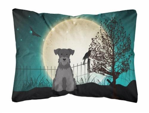 Halloween Scary Miniature Schanuzer Black Canvas Fabric Decorative Pillow Perspective: front